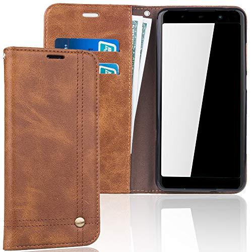 König Design Handyhülle Kompatibel mit Wiko Lenny 5 Handytasche Schutzhülle Tasche Flip Hülle mit Kreditkartenfächern - Braun