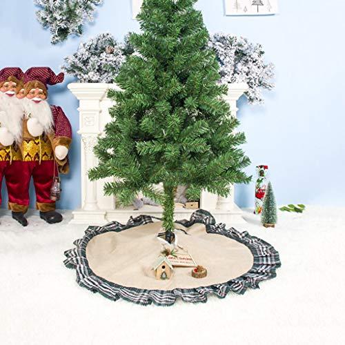 Wokee_ Christmas Tree Jupe - Jupe à Volants de 100 cm, Décoration de Vacances d'Hiver, Couleurs Marron Rouges et Naturelles, Décor de Saison de Style Classique intérieur