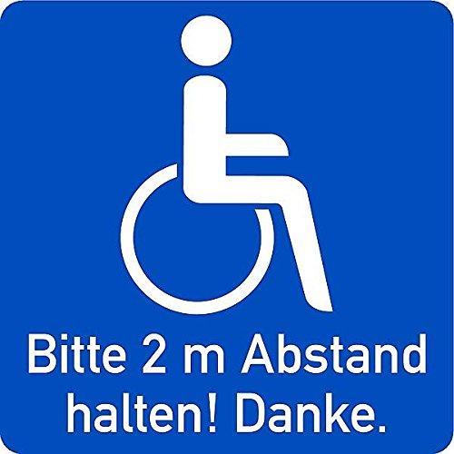 LEMAX® Aufkleber Rollstuhlfahrer innen klebend, Bitte 2m Abstand halten! 100x100mm