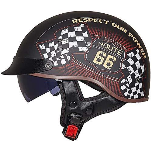 Cascos de motocicleta de media cara, cascos jet, gorros para la cabeza de cascos Cascos convertibles antiguos con gafas de liberación rápida Cruiser Certificación DOT/ECE 3,XL=59-60CM