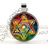 Metatron Cube Pendant Necklace Sacred Geometry Flower of Life Jewelry Chakra Spiritual Necklace Women Magic Hexagram