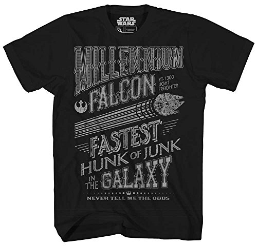 Han Solo Chewbacca Chewie Millennium Falcon Junk Galaxy Poster Retro Vintage Classic Funny Humor Pun Mens Adult Graphic Tee T-Shirt (Black, X-Large)