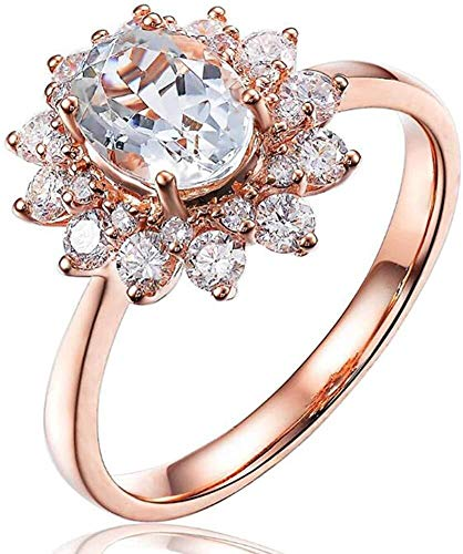 necklace Ladies fashion Navy blue aquamarine gems solid 9CT rose gold diamond engagement wedding ring, ring size: W Hoisting (Size : 52 * 16.5mm)