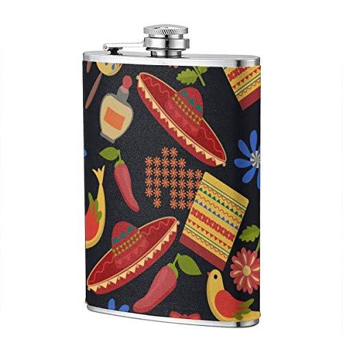Trinkflaschen für Alkohol, nahtlose Muster im mexikanischen Stil, Sombrero, Paprika, Blumen, dunkle Edelstahl Flachmann für Alkohol für Männer