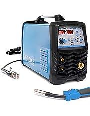 IPOTOOLS MIG-185SYN Inverter lasapparaat MIG MAG - Beschermgas lasapparaat met 185 ampère-synergic functie/vuldraad en elektroden geschikt/MMA E-hand/digitaal display/IGBT-technologie/230 V/blauw