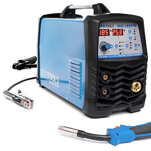IPOTOOLS MIG-185SYN MIG MAG - Soldador inverter de gas de protección con 185 amperios/función sinérgica/alambre de relleno y electrodos/E-mano/pantalla digital/IGBT/230 V