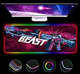 Gaming Mouse Pads CSGO Gunfight Game RGB Large Mouse Pad Soft Extended Locking Edge Mouse Pad Led Light Gaming Gamer Keyboard Mouse Mat 27.6x11.8 inch