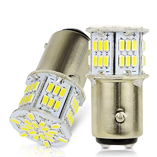LncBoc 1157 BAY15D LED Bombilla 3014 54SMD Blanca LED para Automóvil para Las Luces de Reserva Luces de Freno, Luces Traseras Luz Fría 6000K 1 Año Garantía Paquete de 2