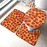 BLSYP Almohadilla de Respaldo Pepperoni Pizza Soft Comfort Flannel Bathroom Rug Mats Set 3 Piece Soft Non-Slip with Backing Pad Bath Mat + Contour Rug + Toilet Lid Cover Absorbent