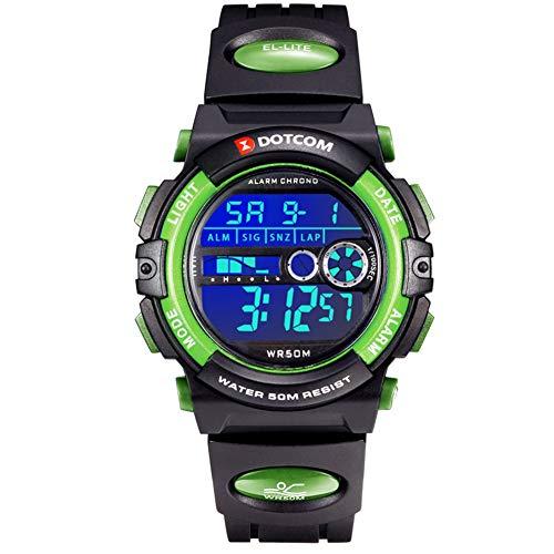 Relojes para Adolescentes, Relojes para Hombres, Reloj Padre-Hijo 5ATM Impermeable/Despertador/Cronómetro/Luces de Colores de Fondo, Relojes Impermeables, Relojes Deportivos (Verde-L)