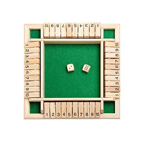 Yubenhong Holz Brettspiel 4-Spieler Shut The Box Würfelspiel Mathematik Traditional Pub Board Würfelspiel Reisen 4 Spieler Great Family Brettspiele Urlaub unterhaltsames Spiel (Grün)
