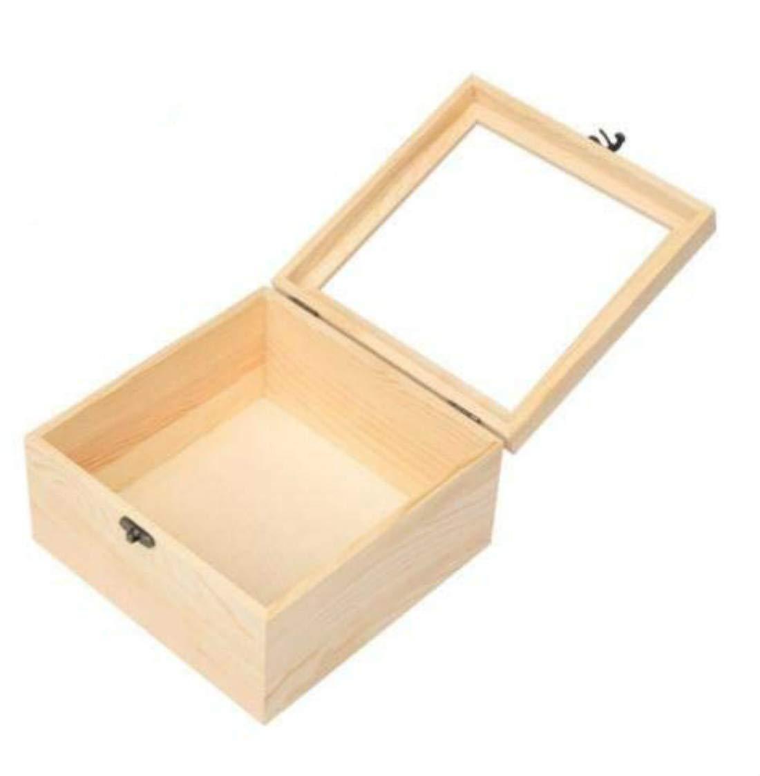 Fdit Caja Madera de Anillo Almacenamiento Caja de Joyas Caja de Almacenamiento con Tapa Cristal para Cosmeticos Maletín Ataúd DIY 12 * 12cm Socialme-EU: Amazon.es: Hogar