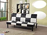 Star Home Furniture FUTONDP2103 Futon Convertible Sofa, Black and White Stripe,