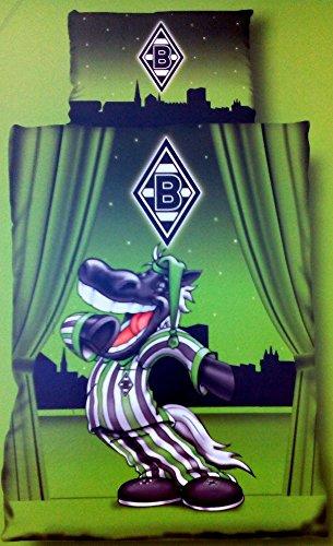 Borussia Mönchengladbach Bettwäsche Kinder Linon Jünter im Schlafanzug Bezug 100x135cm Kissen 60x40cm