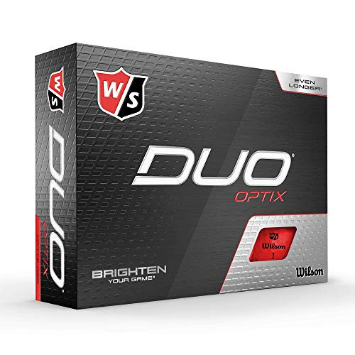 Wilson Staff Golfbälle, Duo Optix, 12 Bälle, Rot, Matte Oberfläche, Einfache Auffindbarkeit, WGWP50500