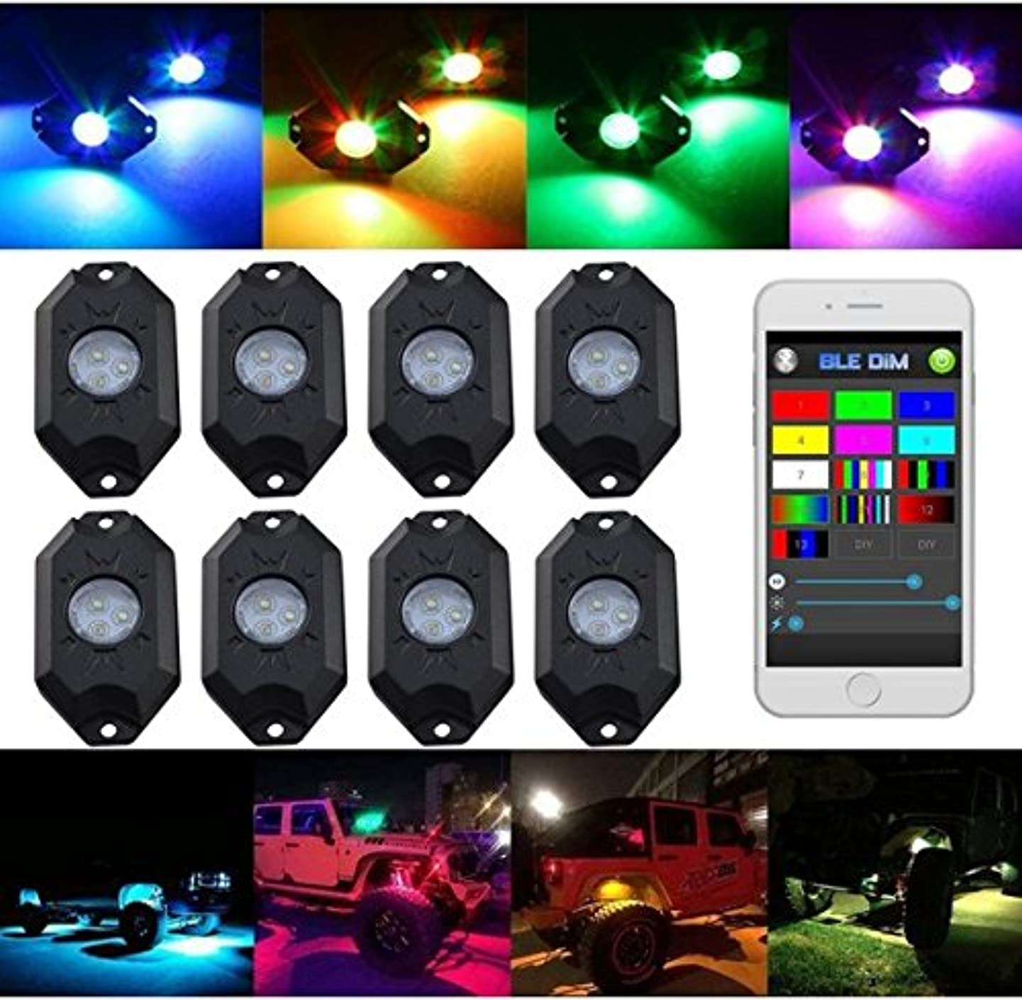 RGB LED Rock Lights Kits Multi-Color Cell Phone Control Bluetooth Controller Waterproof Cars Truck SUV Replacement fit for Jeep Vehicle Boat Interior with Timing Music Mode (8pods Neon Lights)