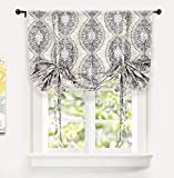 DriftAway Adrianne Tie Up Curtain Damask Floral Pattern Thermal Insulated Blackout Window Adjustable Balloon Curtain Shade for Small Window Rod Pocket Single 45 Inch by 63 Inch Beige and Gray