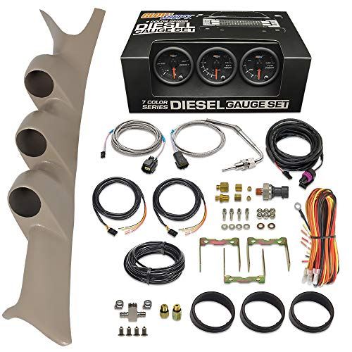 GlowShift Diesel Gauge Package Compatible with Ford Super Duty F-250 F-350 7.3L...