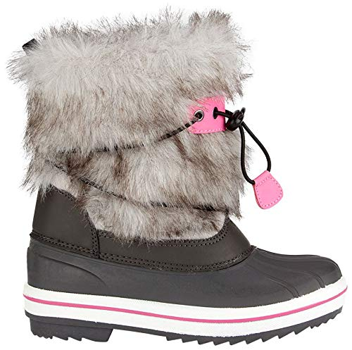 Schreuders Sport pour Enfant Winter-Grip Snowboots Canadien, PVC Cuir, Enfant, Winter-Grip, Anthracite/Pink, 38