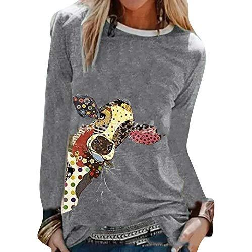 Frauen Bunte Cartoon Kuh Ochsen Druck T-Shirts Plus Size Langarm T-Shirt Reguläre Passform Bequemes süßes T-Shirt