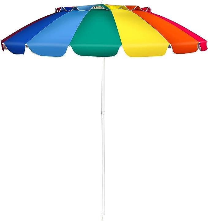 Ombrellone da spiaggia arcobaleno 2 43 m ombrellone portabile da esterno con borsa di trasporto costway B096M2H6LK
