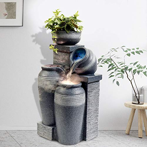 Indoor Tabletop Water Fountain 26.8' H Brick & Urns Decorative Fountain Automatic Loop LED Water Fountain,gray Environmental Resin Waterfall