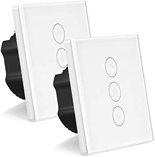 Smart Dimmer Switch, ONEVER 1 Gang 2A 400W Led Touch Switch Wifi Touch Wall Light Dimmer Switch Sensor Panel Compatible with Alexa/Google Assistant/IFTTT (Pack of 2X)