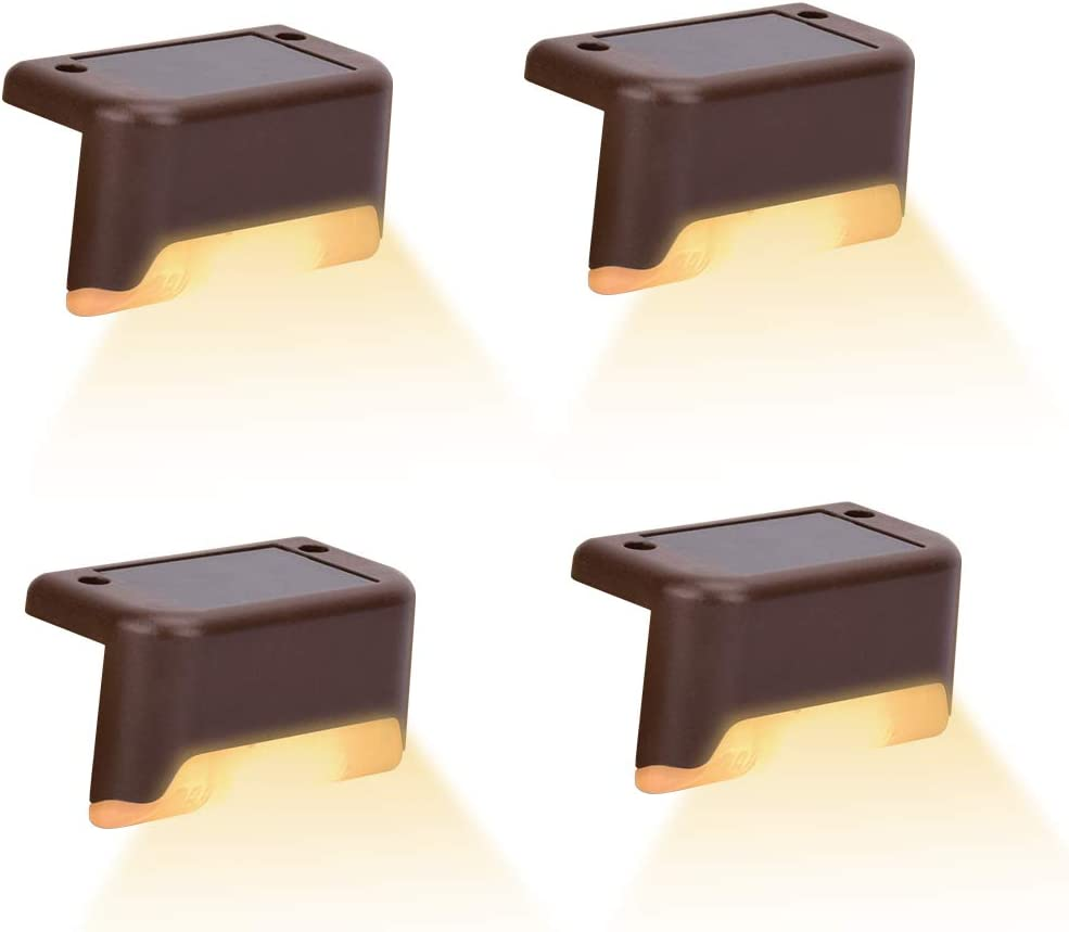 NEW 4 Pcs Solar Step Lights LED Outdoor Deck IP65 Water Max 69% OFF