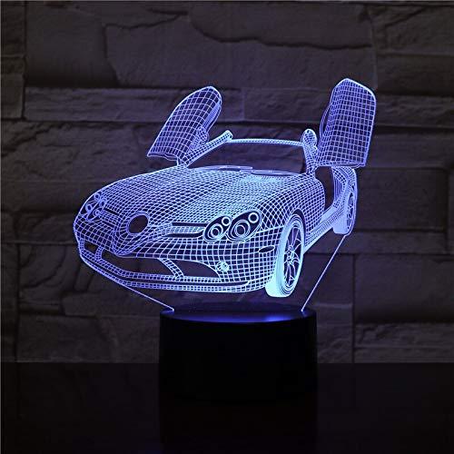 Sanzangtang led-nachtlampje, 3D-visionzeven, kleurenafstandsbediening, supersportwagen, op batterijen, heldere basis met afstandsbediening, nachtlampje