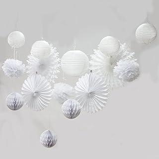 Easy Joy Decoración Blanca, Papel del Pompom, Ventilador de Papel de La Linterna para La Fiesta de Bienvenida Al Bebé de La Fiesta de Aniversario de La Boda