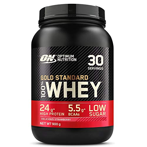 Optimum Nutrition Gold Standard Whey Protein, Muscle Building Powder With Naturally Occurring Glutamine and Amino Acids, Delicious Strawberry, 30 Servings, 900 g, Packaging May Vary
