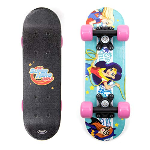D'Arpeje Comics DC Superhero Girls Kid's 17-Inch Wood Mini Skateboard Cruiser, Black/Pink (OSHG247), Blue