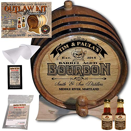 Personalized Whiskey Making Kit (102) - Create Your Own Tennessee Bourbon Whiskey - The Outlaw Kit from Skeeter's Reserve Outlaw Gear - MADE BY American Oak Barrel - (Oak, Black Hoops, 1 Liter)