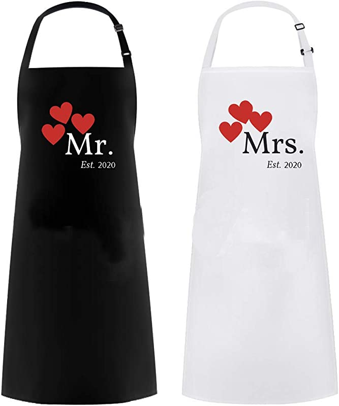 Mrs Apron And Mr Apron Matching Couples Gift Great As A Wedding Gift Or His And Hers Engagement Gift Set 2020