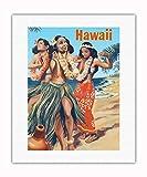 Empire - Stampa su tela laminata, motivo: danzatori hawaiani sulla spiaggia, motivo: Hula Annata Anni '50, 40,6 x 50,8 cm