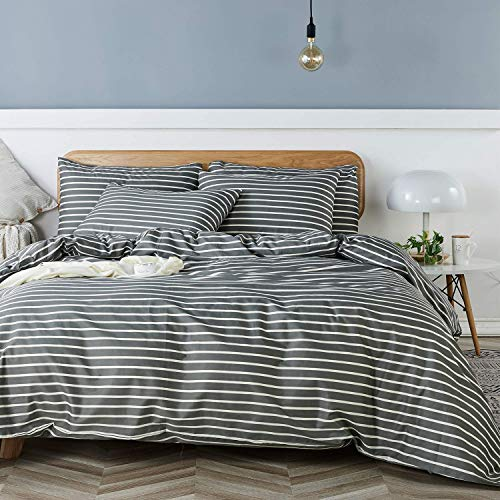 Product Image of the JELLYMONI 100% Natural Cotton 3pcs Striped Duvet Cover Sets, Dark Grey Duvet...