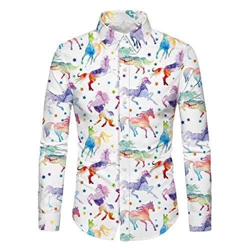 KPILP Herren Hemd Weihnachten 3D Druck Hemd Langarmshirts Button Down T-Shirts...