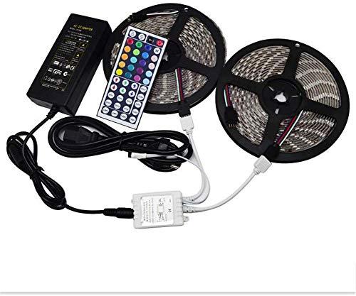 Dmygo SMD 5050 Tira de luz LED RGB 32.8ft 10M 600 LED IP65 Resistente al Agua con 10A Fuente de alimentación 44 Clave de Control Remoto for la Cocina de Navidad decoración del hogar