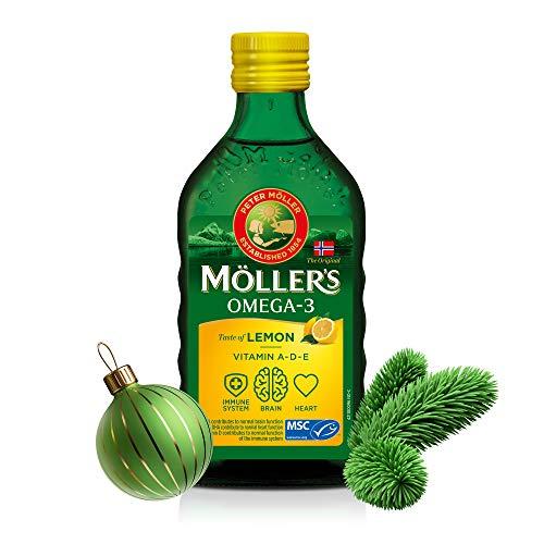 Moller's ® | Olio di fegato di merluzzo Omega 3 | Integratori alimentari di omega-3, 6, 9 con EPA, DHA, vitamine A, D ed E | Superior Taste Award | Marchio esistente da 166 anni | Limone | 250 ml