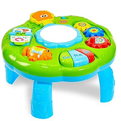 HERSITY Hand Drums Musical Learning Table Baby Music Set with Lighting and Sound Early Development & Activity Toys for Boys Girls (Green) from HERSITY