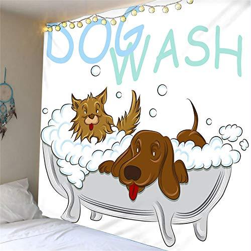 mohanshop 3D Tapestry Dog Bathing Mandala Hippie Wall Hanging Indian Bohemian Dorm Decor Single Multi-Colored Bedsheet Print Picnic Table Cloth 140(H) X210(W) Cm