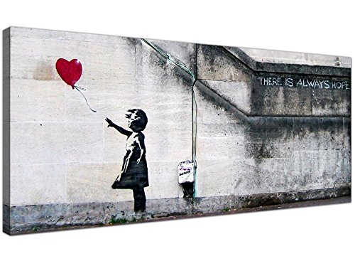 Large Canvas Prints of Banksy's Girl with the Red Balloon for your Dining Room - Graffiti Wall Art - 1050 - Wallfillers by Wallfillers