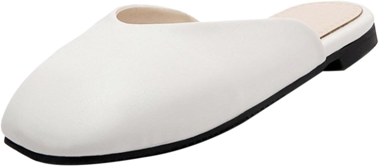 CarziCuzin Women Comfy Flats Mules Sandals Square Toe White Size 40 Asian