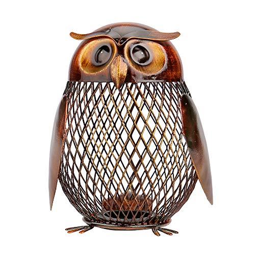 Tooarts フクロウボックス 貯金箱 動物の置物 クリエイティブ 飾り アイアン アート飾り 手作り装飾品