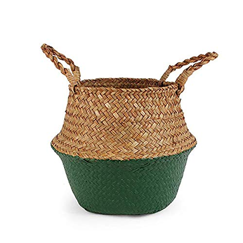 WUJIANCHAO Storage Baskets laundry Seagrass Baskets Wicker Hanging Flower Pot Baskets Storage Flower Home Pot basket for