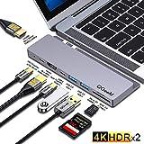 USB C ハブ,QGeeM MacBook pro ハブ, 9-in-2 デュアル TypeC HDMI ドッキングステーション,デュアル4K HDMI、PDポート、SD/TFカードリーダー、MacBook Pro 2019/2018-2016と互換性あり