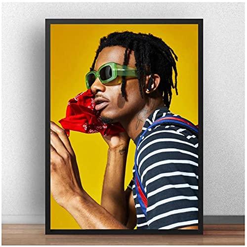 Qqwiter Playboi Carti Poster Hip-Hop Rapper Music Popular Rap Singer Black And White Posters Wall Art Painting-50x70cmx1pcs -No Frame