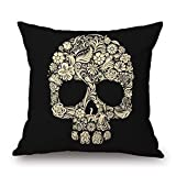 KJDFH Kissenbezug,Indian Mexican Skull Printed Cotton Pillow Case Decorative Office Home Throw...