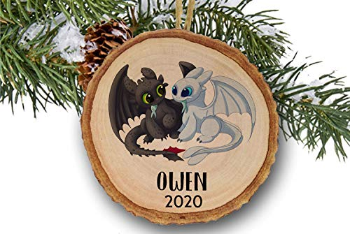 Lplpol Personalized Toothless and Light Fury Dragon Ornament, How to Train Your Dragon, Christmas Ornament, Custom Name Ornament, Wooden