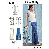 semplicità Modello 8393da Donna e Taglie Forti, Tunica o Top, Pantaloni e Maglia Cardigan, Carta, Bianco, 22x 15x 1cm